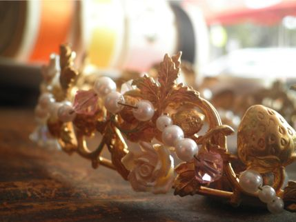 Strawberry Rose Coronet Tiara $120.00 AUD