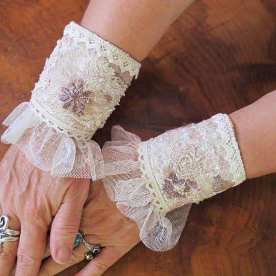 Shabby Chic Bohemian Wedding Cuffs Fabric Bracelet by Triptastica