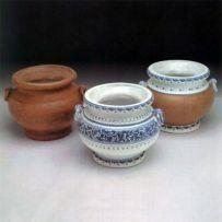 Portavaso piccolo con anelli ( a sinistra nell'immagine) o Portavaso piccolo con anelli decorato (al centro nell'immagine) o Portavaso piccolo con anelli cotto e smalto (a destra nell'immagine)