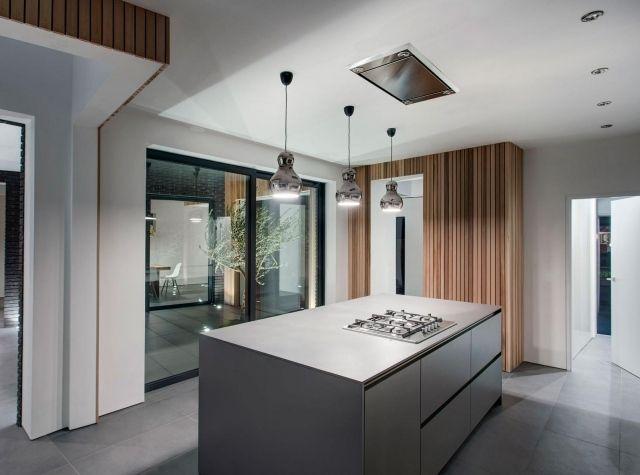Maison ultramoderne suspensions au dessus de l 39 lot de cuisine luminai - Luminaire ilot de cuisine ...