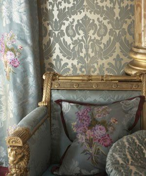 """""""Inspired by the magnificent interiors of Buckingham Palace and Windsor Castle, this superb collection contains refined and elegant jacquard woven silk damasks and brocades, stunning embroideries on silk satin grounds and a sumptuous pure silk jacquard velvet weave."""""""