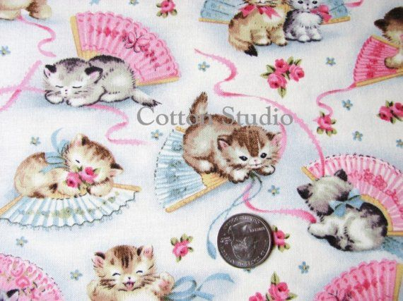 Smitten Kittens Michael Miller Fabric By The Yard Cat Fabric