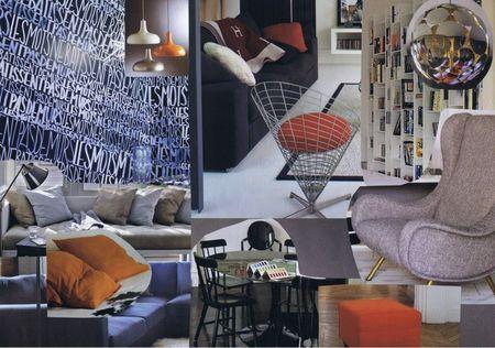 Planche tendance pour un studio masculin moderne en différents tons de gris avec une touche de orange.