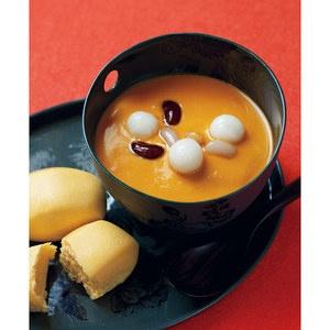 まるでフルーツ。甘いかぼちゃの、ホットな魅力を。【「くりりん」かぼちゃ汁粉セット】