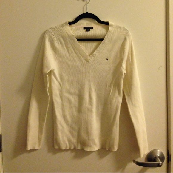 Tommy Hilfiger white preppy sweater Brand new. Moving at the end of May, will donate everything unsold to local goodwill. Please buy before then. Tommy Hilfiger Sweaters V-Necks