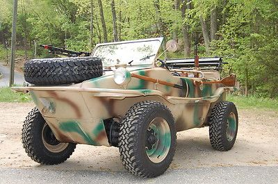 1943 VW Schwimmwagen. 4 wheel drive amphibious with rear propeller. This vehicle was manufactured by Porsche for the German Army during World War 2!