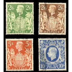 GB -  GEORGE VI HEADS 1939 - HIGH VALUE SET OF 4 VF USED for R80.00