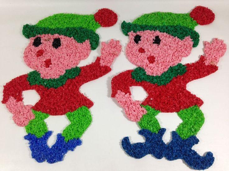 """Vintage Melted Plastic Popcorn Christmas Elves Elf Set of 2 - Green Red Blue 19"""""""