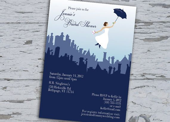 Mary Poppins  Bridal Shower Invitation  Custom by KellieCecilia, $15.00