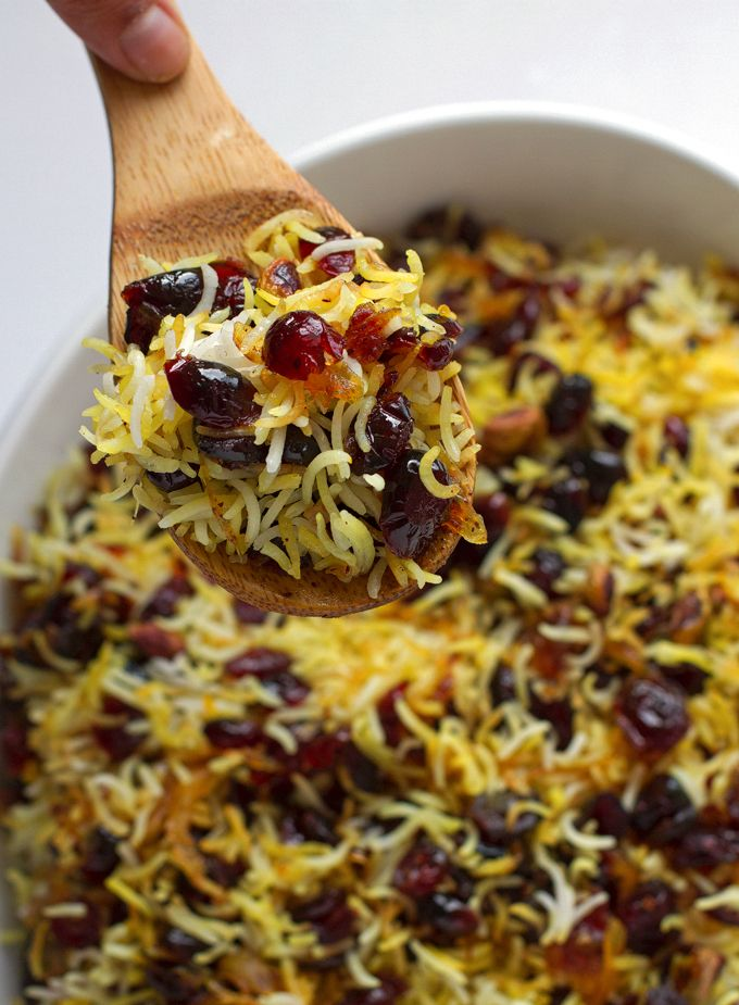 Fragrant Persian cranberry rice pilaf with saffron. Sweet, perfect for thanksgiving, cranberry rice pilaf made with basmati rice, cranberries, and saffron.