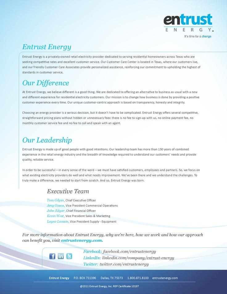 About Entrust Energy  www.entrustenergy.com