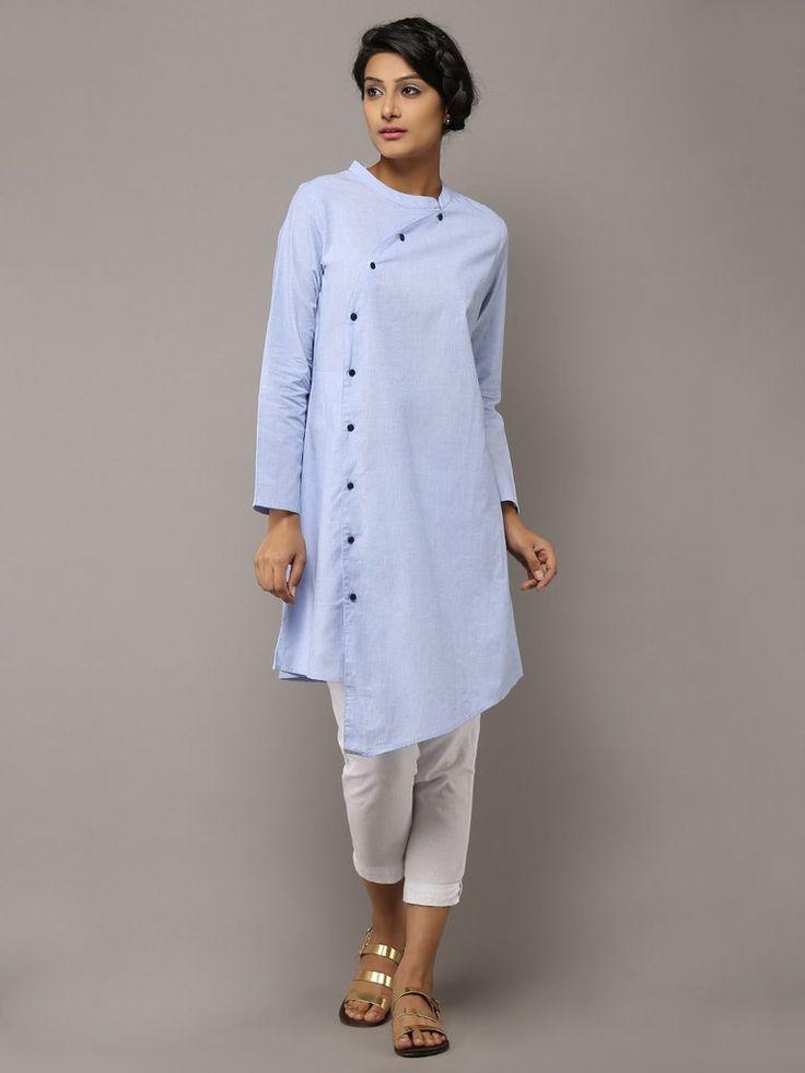 Light Blue Cotton Collared Kurta by the Wooden Closet