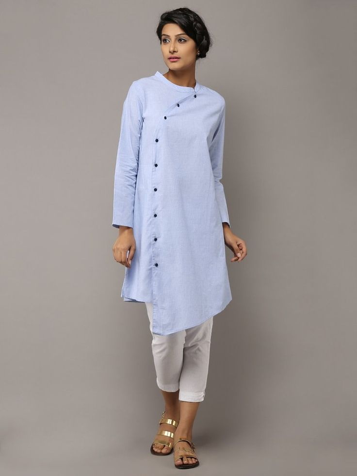 Light Blue Cotton Collared Kurta by the Wooden Closet
