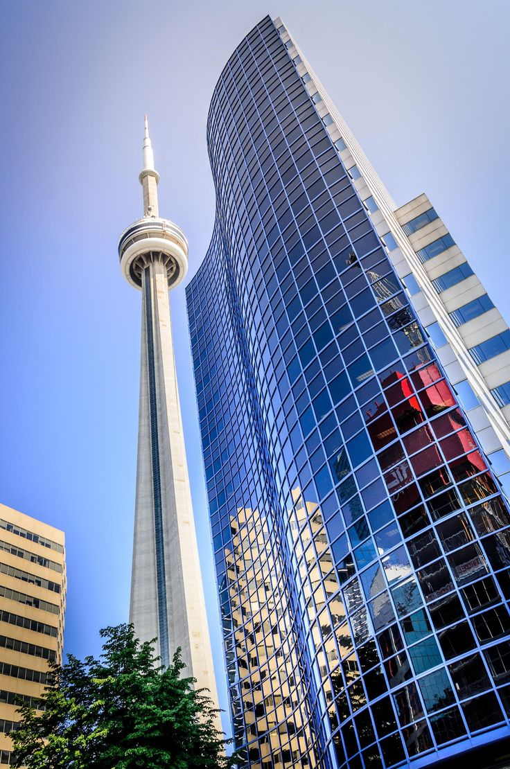 The CN Tower concrete communications and observation tower in downtown Toronto, Ontario, Canada. It was completed in 1976. Remains the tallest free-standing structure in the Western Hemisphere, a signature icon of Toronto's skyline, and a symbol of Canada.