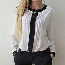 2015 otoño Sexy del o-cuello de la gasa blusa mujer de manga larga OL sólida para mujer ropa estilo(China (Mainland))