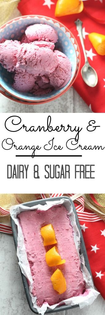 A delicious & festive no churn dairy free and sugar free Cranberry & Orange Ice Cream made with coconut milk