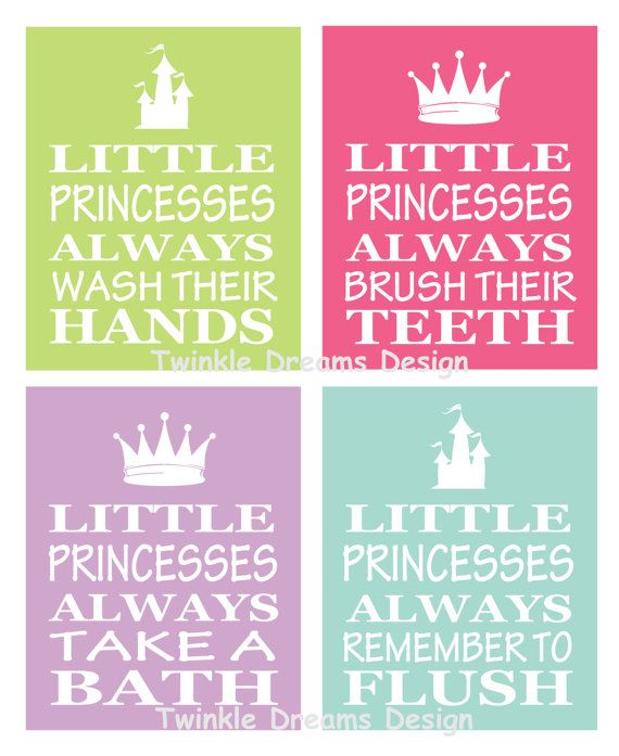 Instant Download Digital File Princess art bathroom print little kid art print manners print educational print little girl on Etsy, $5.00