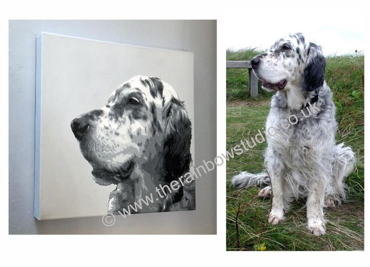 """English Setter pet Portrait painting of Pickle. Acrylic on canvas 16""""x16"""" Commissions of your beloved pets are welcome, visit www.therainbowstudio.co.uk"""