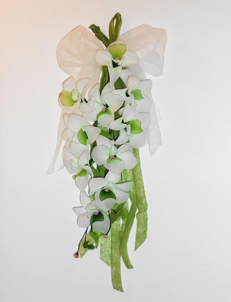 orchidea di filanca collant verde e bianco, nozze di smeraldo
