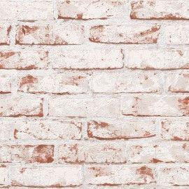 Papel pintado ladrillo blanco y marrón desgastados PDA8907813 imágenes