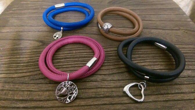 Soft leather double wrap bracelet add your charm.