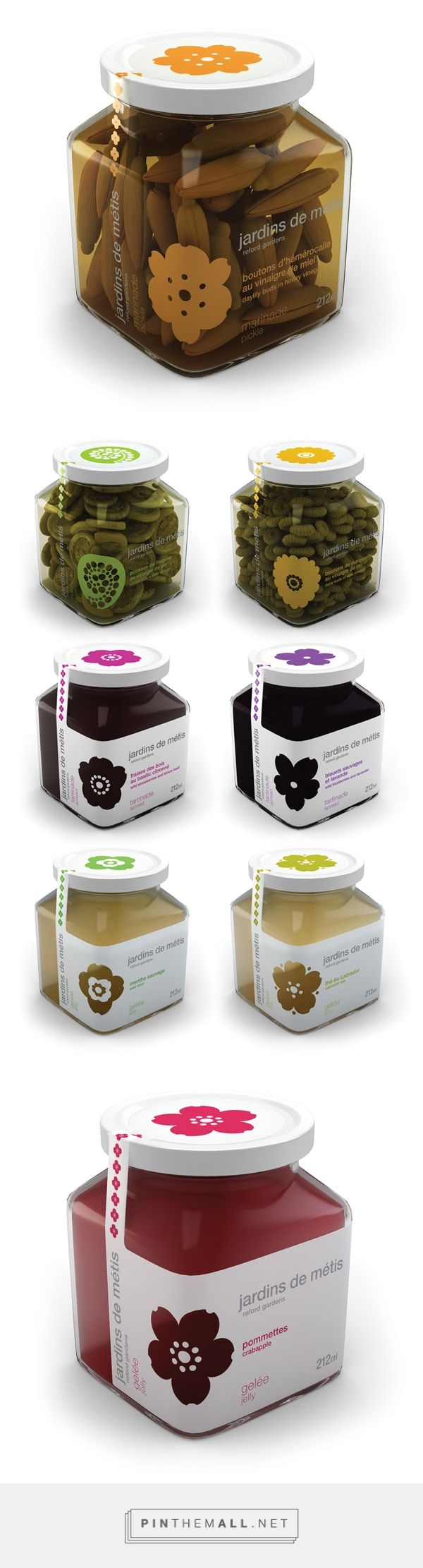 Reford Gardens packaging Jardins de Métis by Patricia Nadeua on Behance curated by Packaging Diva PD. A line of culinary kitchen delights using flowers among the gardens, such as daylilies, fiddleheads and Labrador tea, created and produced by chef Pierre-Olivier Ferry and his team.