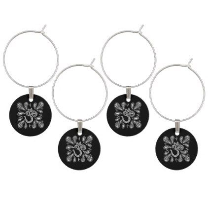 White Lace OM symbol  swirl on black Wine Glass Charm - lace gifts style diy unique special ideas