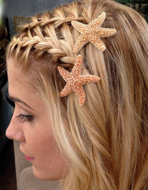 Cute hair idea without the starfish...unless you're a mermaid! :D