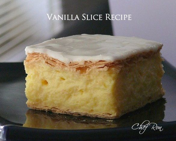 Vanilla Slice Recipe Desserts with frozen puff pastry sheets, white sugar, custard powder, corn starch, milk, butter, egg yolks, vanilla extract, confectioners sugar, milk, vanilla extract