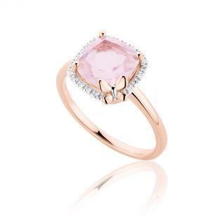 Κοσμήματα :: Δαχτυλίδια :: Δαχτυλίδι Diamonds Collection από ροζ χρυσό 18Κ με μπριγιάν 0.05ct και ροζ quartz - Li - LA - LO