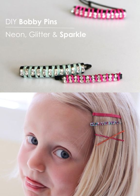 DIY Bobby Pins – Neon, Glitter and Sparkle | http://hellonatural.co/diy-bobby-pins-neon-glitter-sparkle/