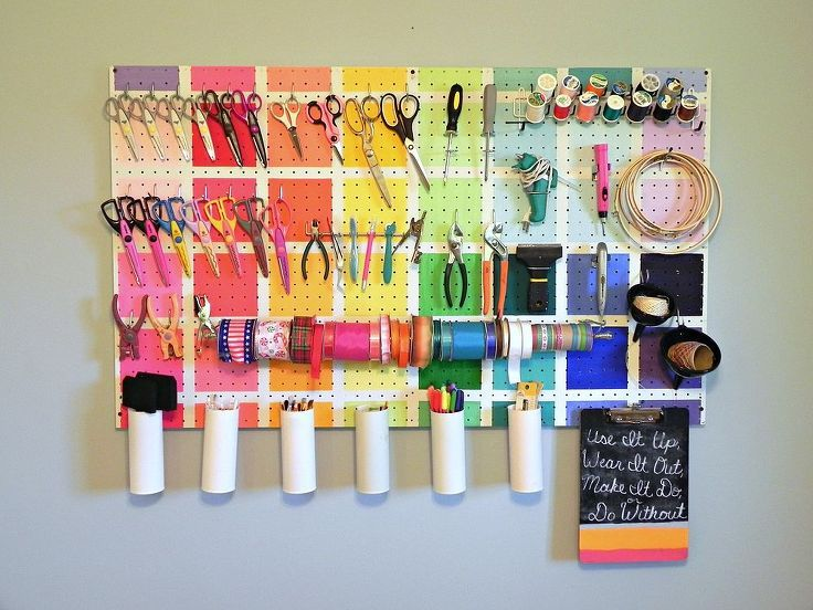 project runway inspired pegboard, cleaning tips, craft rooms, organizing, My colorful pegboard was inspired by the work room from last season s Project Runway All Stars