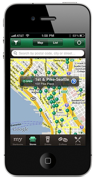 Starbucks App (iPad & iPhone) - Find the nearest Starbucks from wherever you are! Also, keep track of membership cards & rewards. Free to download. I use this ALL THE TIME. So great!