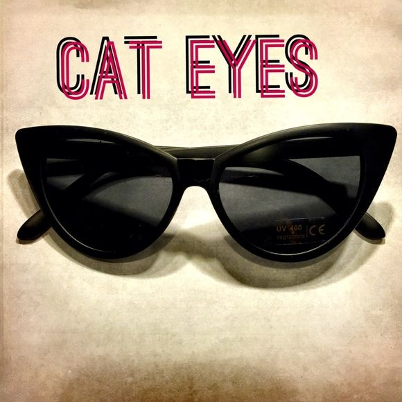 Retro Cat Eyes Style Black Sunglasses Retro style is back and so are these adorable yet sexy black cat eyes sunglasses Accessories Sunglasses