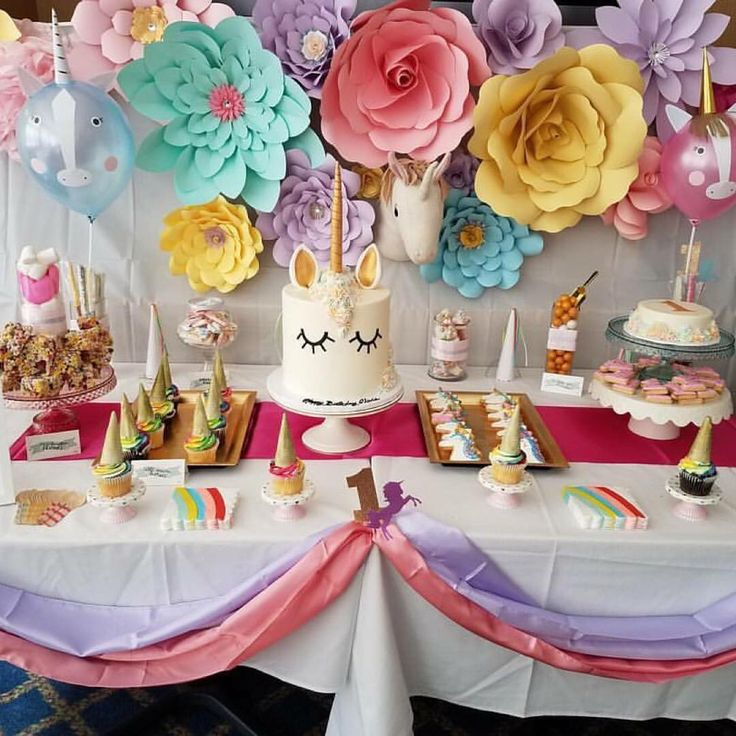 Unicorn themed 1st Birthday party!!  Creative event planning & design. Custom paper flowers & bouquets for all occasions.  DM for quotes. Visit us at thepaperloveliesco.com or on Facebook