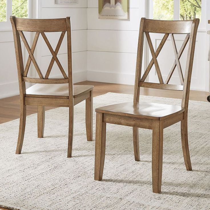 HomeVance Acorn Creek X-Back Dining Chair 2-piece Set ...