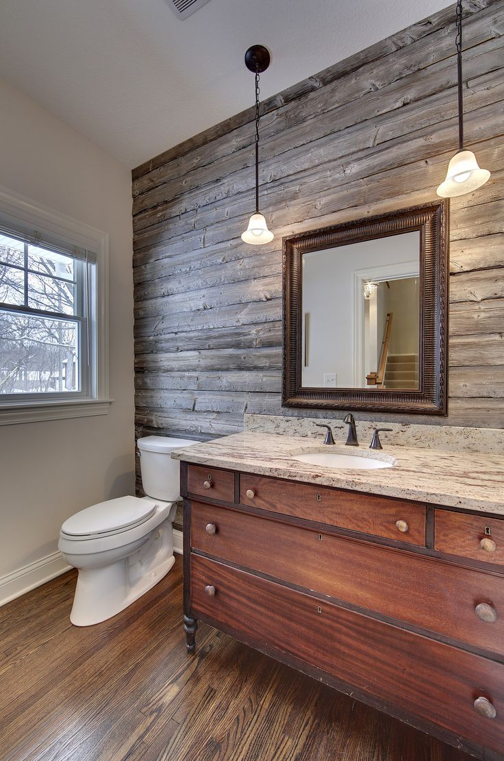 powderroom with barnwood accent wall vanity from antique mahogany dresser