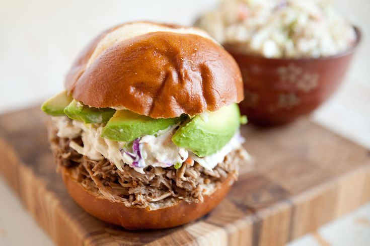 Pulled Pork & Bleu Cheese Slaw Sandwich is a delicious and simple sandwich recipe with pulled pork made in your Crock Pot for an easy weeknight dinner idea!