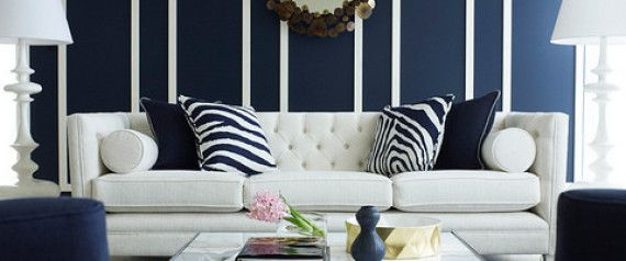 10 Navy Rooms To Inspire You To Pick Up The Paintbrush (PHOTOS) check out the molding on fireplace