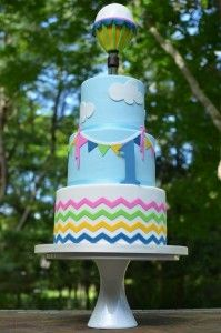 Hot Air Balloon First Birthday Cake - Student project http://cakedecorating.myfavoritecraft.org/birthday-cake-images/