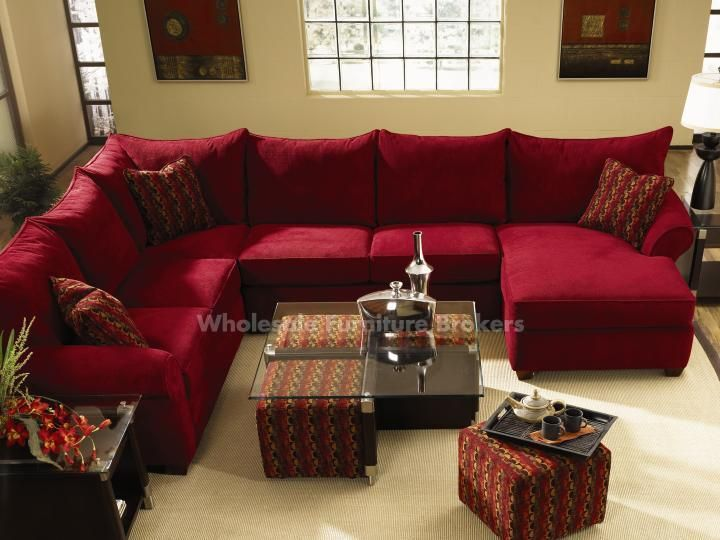 Diggin The Red Sectional And Coffee Table With Pull out Ottomans Fletcher