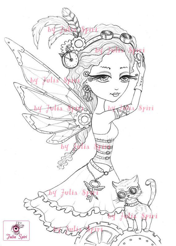 Digital stamps Steampunk Digi Metal Gear Iron Fairy by JuliaSpiri