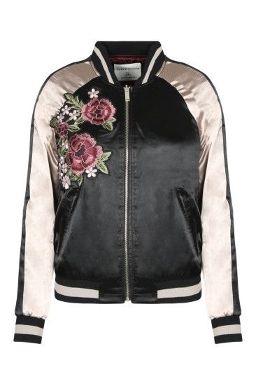 BLACK & GOLDEN SATIN BOMBER JACKET