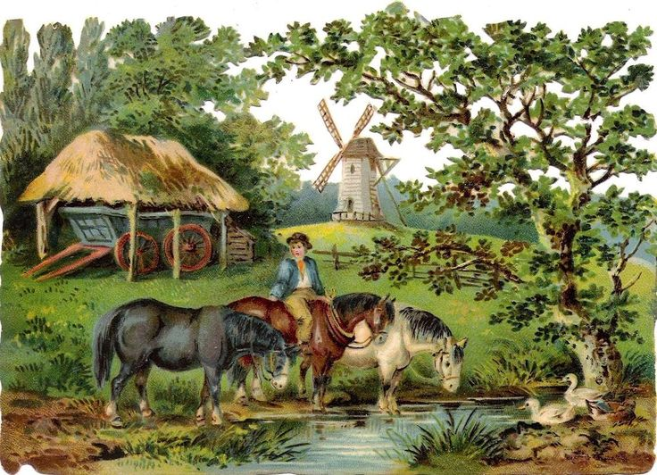 Oblaten Glanzbild scrap chromo die cut Mühle 17cm mill rural scene Pferd duck: