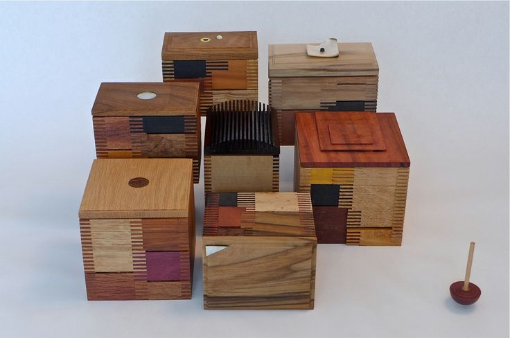 'patchwork' boxes, designed and made by michael penck. recycled small pieces of timber.