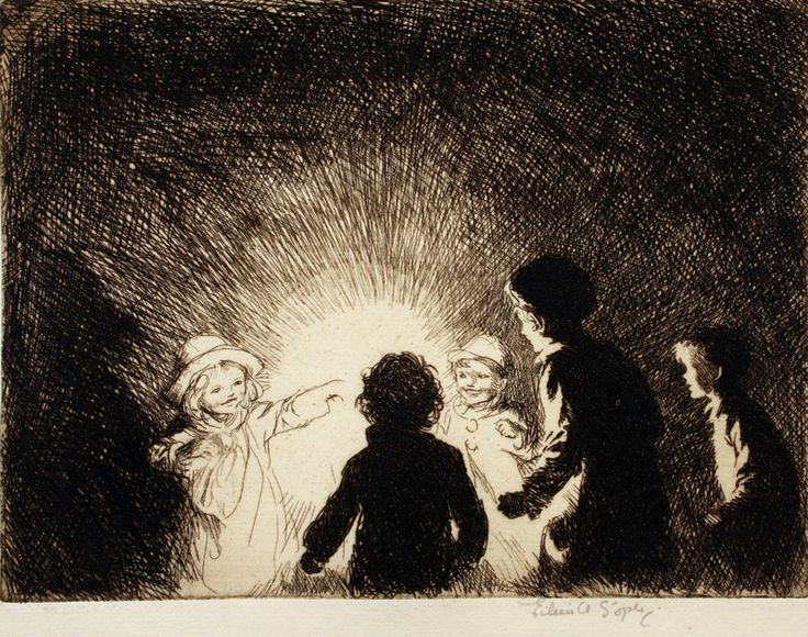 """""""November 5th,"""" etching on laid paper by Eileen Soper (1905-1990)"""