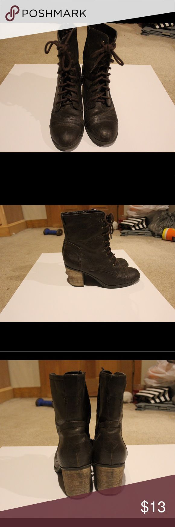 Steve Madden Boots with small heel! Brown rustic looking boots. Worn very few times. Lace up, combat boot style, but with a small heel. Adorable. Steve Madden Shoes Lace Up Boots