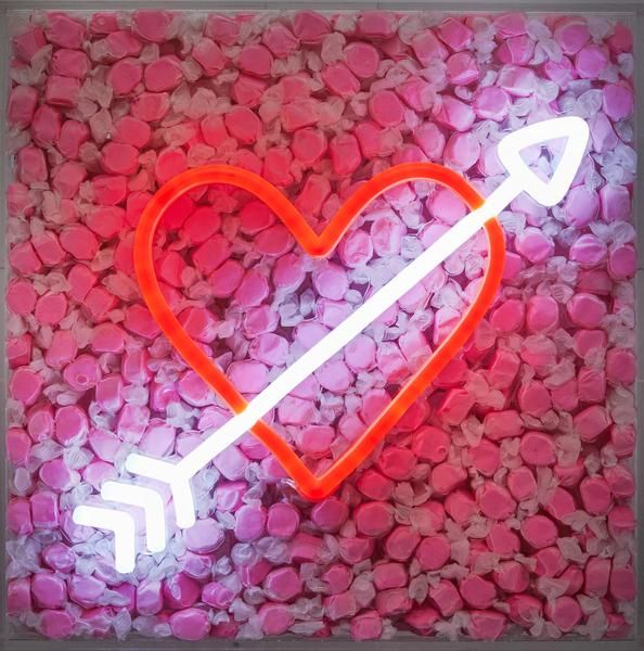 Artstar Exclusive Robyn Blair X Name Glo Collaboration Artstar Pink Heart Affordable Art Fair Affordable Art