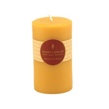 Burn Time: 55-65 Hours  Handmade with 100% pure Canadian beeswax, the Honey Candles® Pillar is long-lasting, with a warm glow that is ideal for the dinner table and every romantic occasion. You'll love the pleasant, natural scent of this pillar candle.