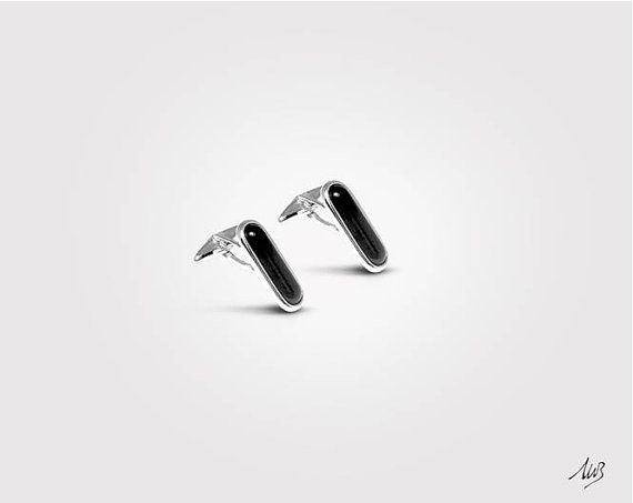 Silver Cufflinks, Onyx Stone, Classic Cufflinks, Solid 925 Silver, Elegant  €204,00 EUR